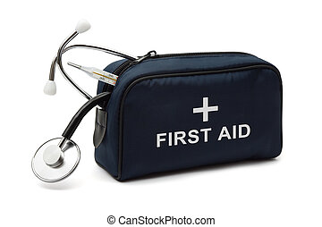 First aid kit, isolated on white background