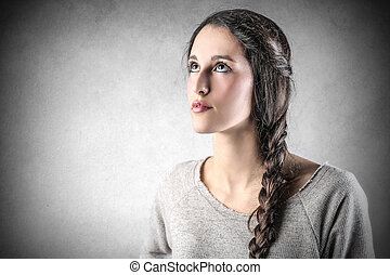 Woman with braid - Portrait of woman with braid