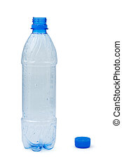 Empty plastic bottle, isolated on white background