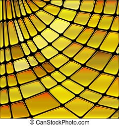 abstract vector stained-glass mosaic background - golden...