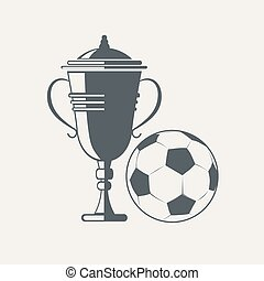 Soccer cup and ball. Emblem designs vector illustration