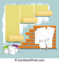 repair - illustration, wallpaper on wall, brick wall and...