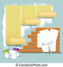 repair - illustration, wallpaper on wall, brick wall and...
