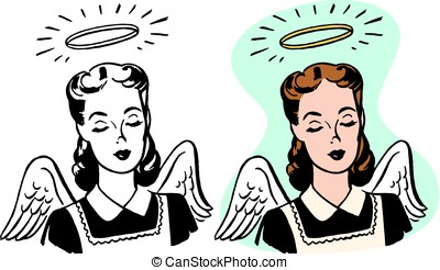 Angelic Woman - A female angel with a halo and wings