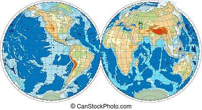 Hemisphere of Earth. Vector illustration.