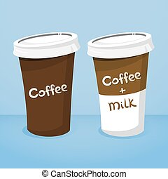 Two plastic cups with coffee  vector illustration