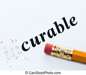 "Word "" incurable "" and pencil with eraser close-up - Word..."