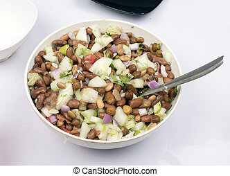 vegetarian beans protein food with salad in bowl