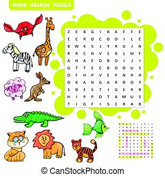 Vector education game for children about animals -Word...