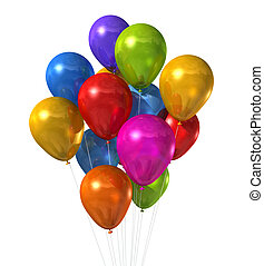 multi colored balloons group isolated on white - 3D multi...