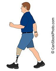 Amputee Walking - Left leg amputee out for a stroll