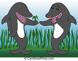 A Shark Romance - Two cartoon sharks in love