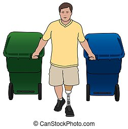Amputee With Trash Cans - Left leg amputee bringing the...