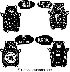 Cute bears in artistic linocut style. Woodcut animals characters with romantic speech bubbles. Design elements for labels, love decoration