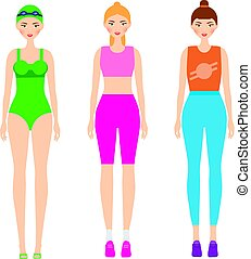 Women in sportswear. Female in fitness clothes. Smiling...