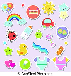 Baby stickers. Kids, children design elements for scrapbook. Decorative vector icons with toys, clothes, sun and other cute newborn babies symbols