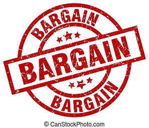 bargain round red grunge stamp