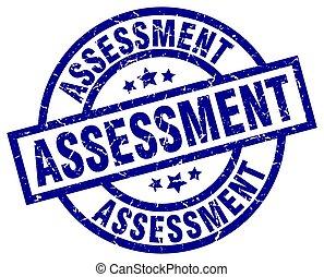 assessment blue round grunge stamp