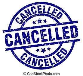 cancelled blue round grunge stamp