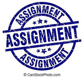 assignment blue round grunge stamp