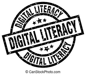 digital literacy round grunge black stamp