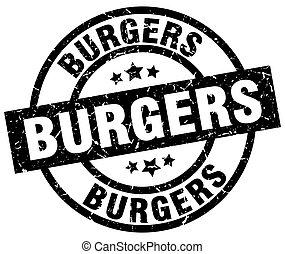 burgers round grunge black stamp