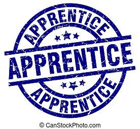 apprentice blue round grunge stamp