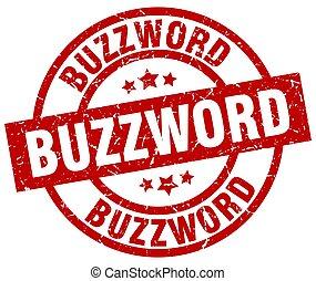 buzzword round red grunge stamp