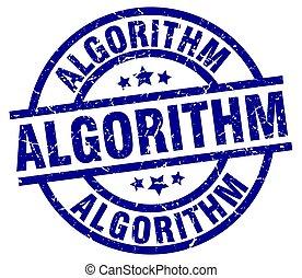 algorithm blue round grunge stamp