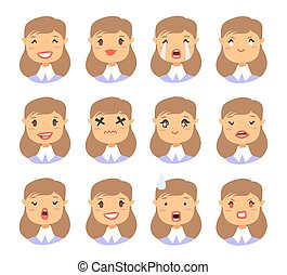 Set of emotional character. Cartoon style emotion icons. Isolated girl avatars with different facial expressions. Flat illustration women's faces. Hand drawn vector drawing emoticon