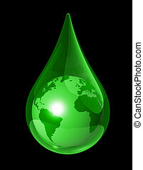 earth water drop - green world globe map in a water drop. 3D...