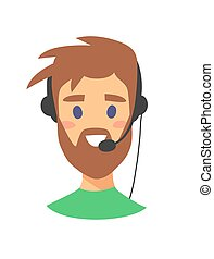 Portrait of happy smiling female customer support phone operator. callcenter worker with headset. Cartoon vector illustration man agent