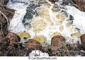 Water flows from large pipes - Rapid Water flows from large...