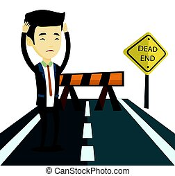Business man looking at road sign dead end. - Man looking at...