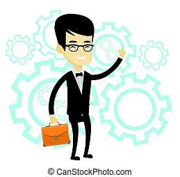 Successful business idea vector illustration. - Asian man...