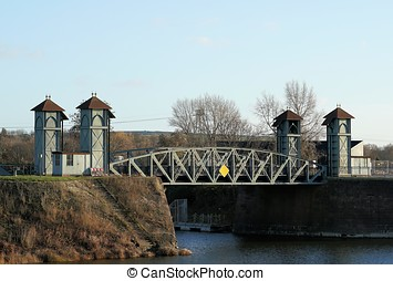 Lift Bridge in Magdeburg - Historic Lift Bridge from 1894 in...