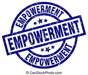 empowerment blue round grunge stamp