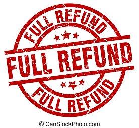 full refund round red grunge stamp