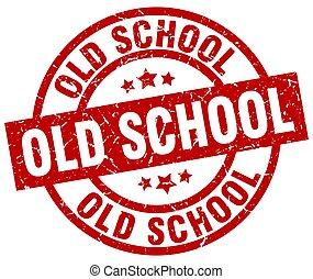 old school round red grunge stamp