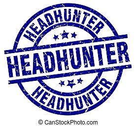 headhunter blue round grunge stamp