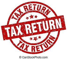 tax return round red grunge stamp