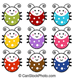 Cute Cartoon Ladybug Set - An image of a cute cartoon...