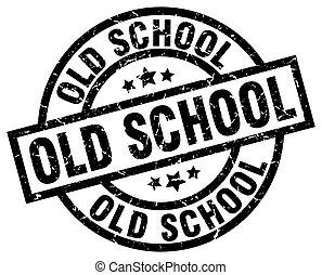 old school round grunge black stamp