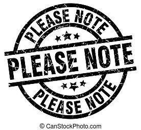 please note round grunge black stamp