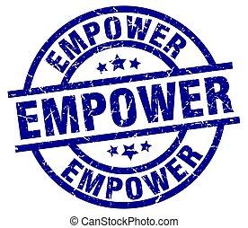empower blue round grunge stamp