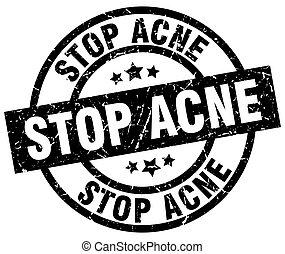 stop acne round grunge black stamp