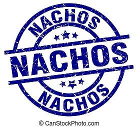 nachos blue round grunge stamp