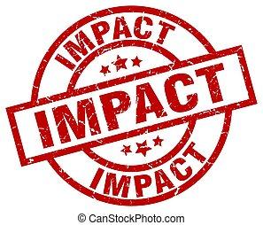 impact round red grunge stamp