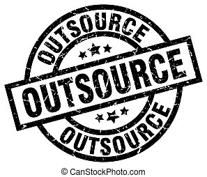 outsource round grunge black stamp