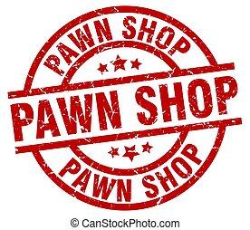 pawn shop round red grunge stamp